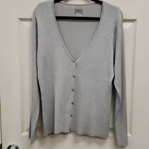 Chico's Silver Gray Cardigan Sweater Size XL